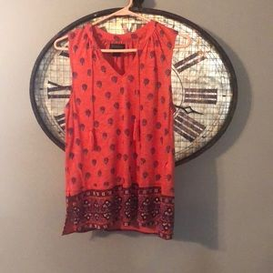 Luck brand Orange Tank with tassels and cute print